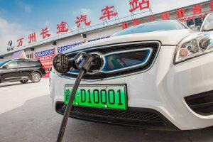 En China se utilizan matriculas verdes en los coches eléctricos