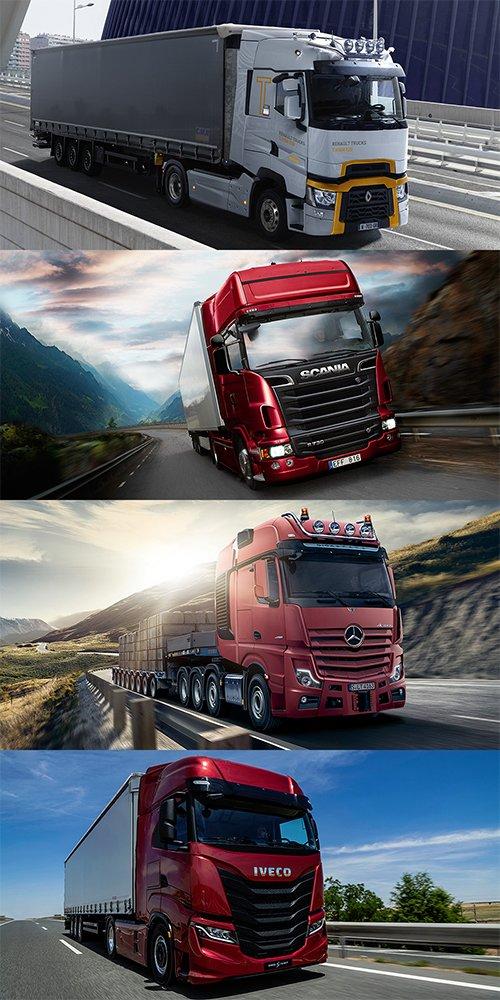 Los mejores GPS para camión. En la Imagen el Renaul T High 520, Scania R520, Mercedes Actros e Iveco S-Way